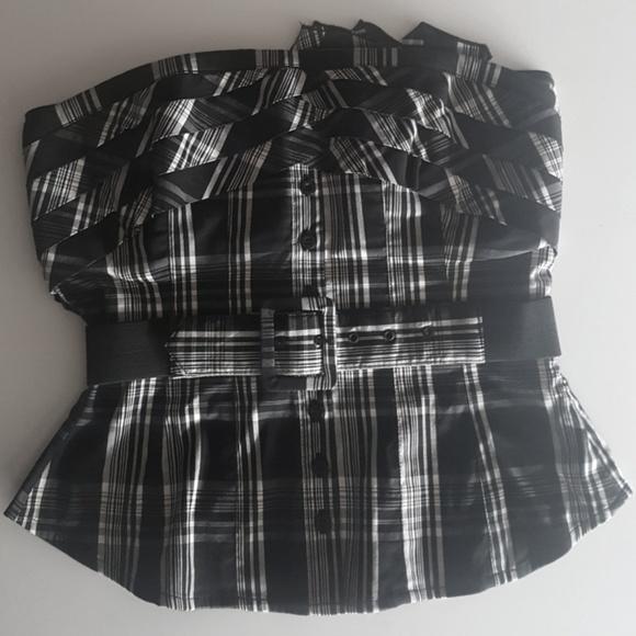 31d3c15468 bebe Tops - bebe Black   White Plaid Tube Top with Belt